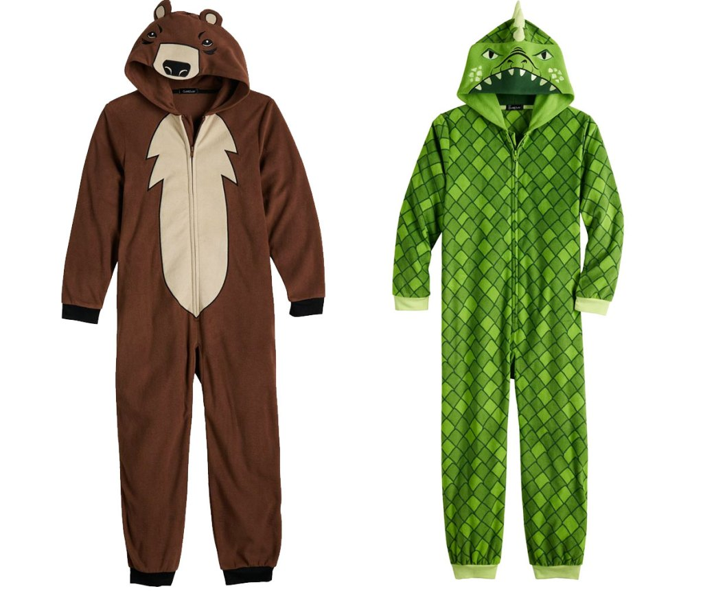 two boys hooded one-piece pajamas in brown bear and green alligator styles
