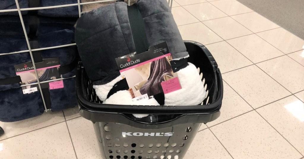 Cuddl Duds throw in Kohl's shopping basket