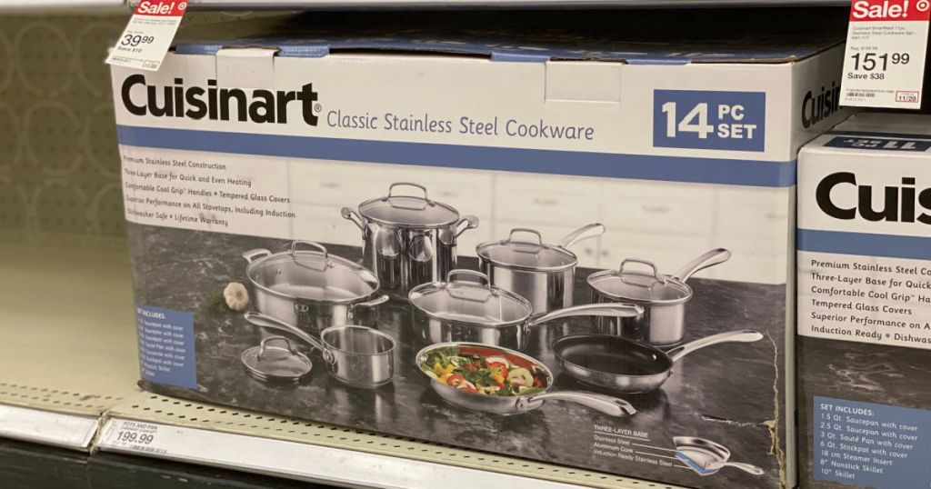 cookware set on shelf