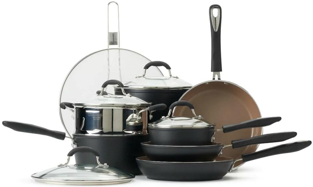 Large matte black cookware set