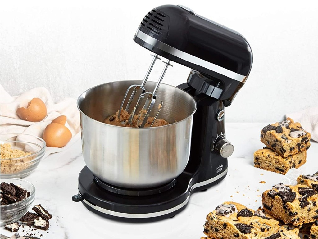 stand mixer with cookies next to it
