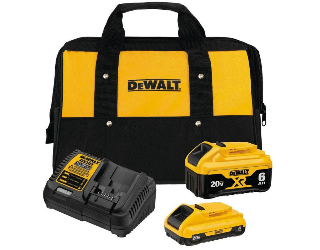 black and yellow dewalt lithium-ion batteries, a charger, and a tool bag