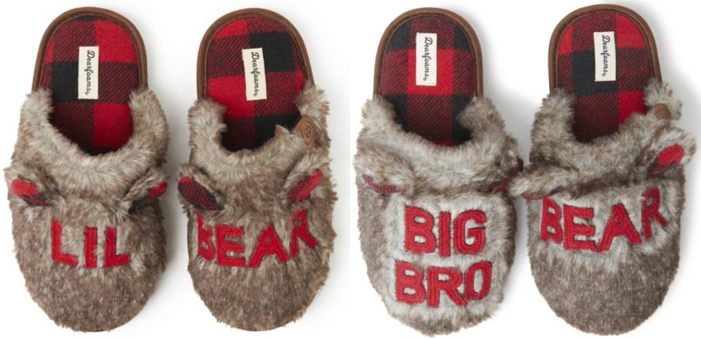 lil bear and big bro bear fuzzy dearfoam slippers