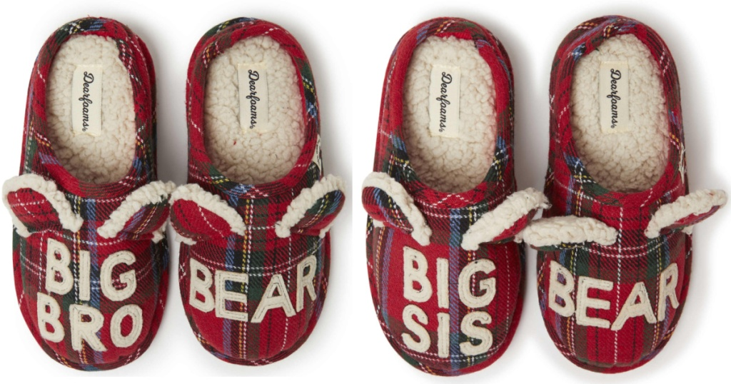 big bro and big sis plaid slippers