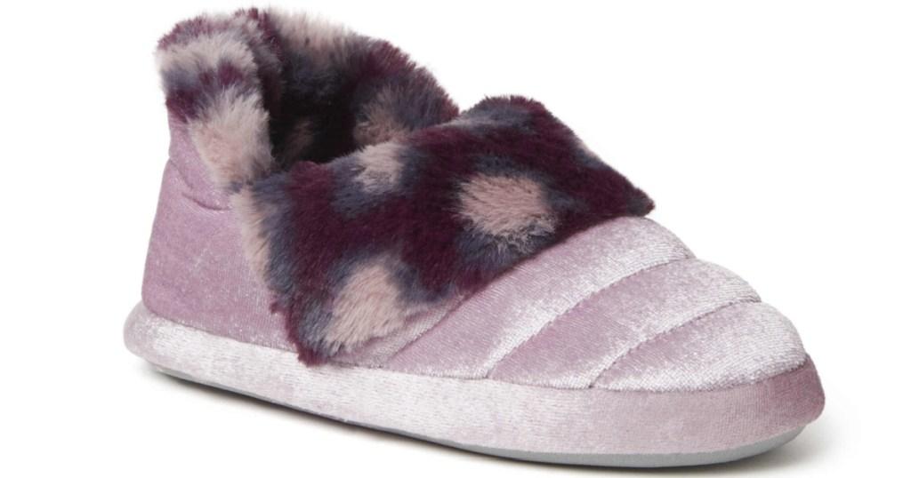 purple fuzzy girls dearfoam slippers