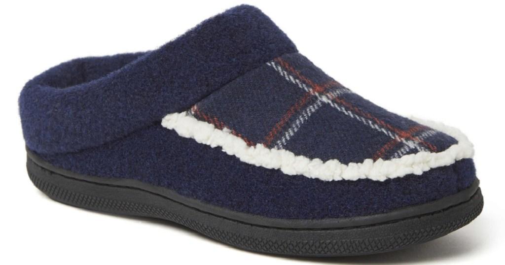 dearfoam boys blue plaid slippers
