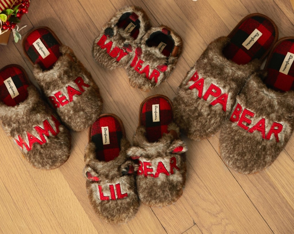 group of matching slippers
