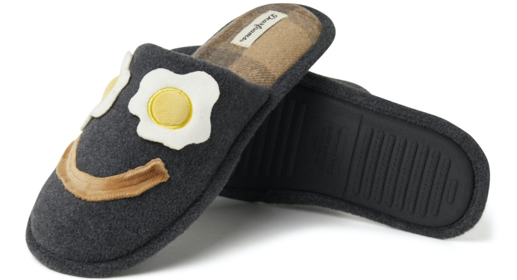 men's gray slippers bacon and eggs design