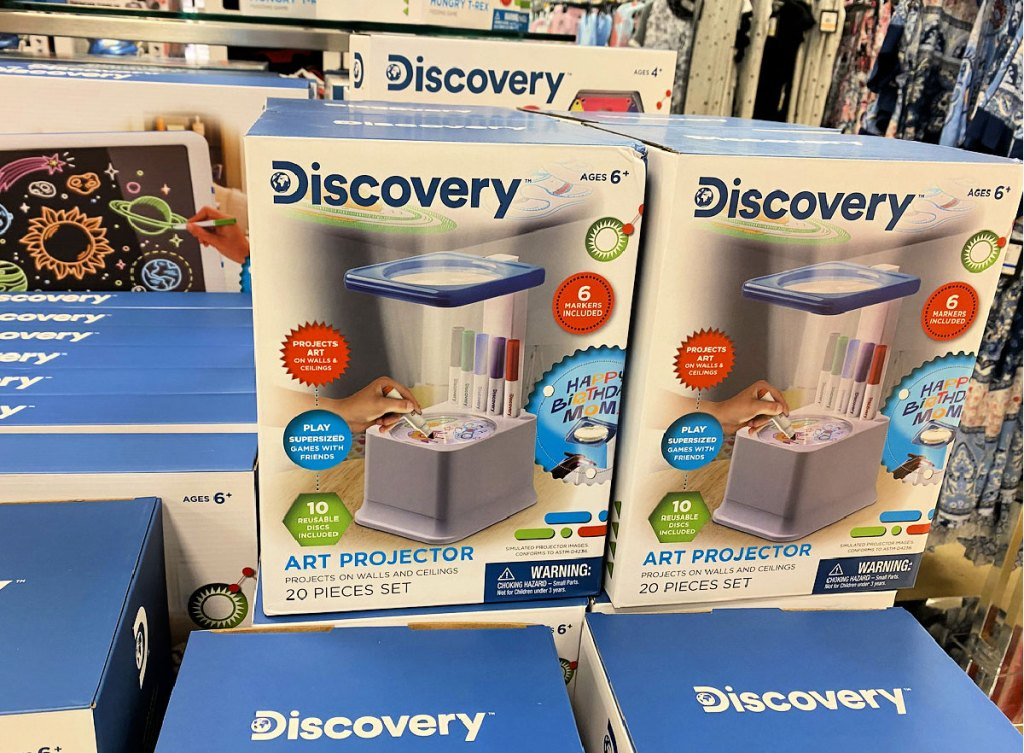 discovery kids art drawing projectors stacked on display table at belk