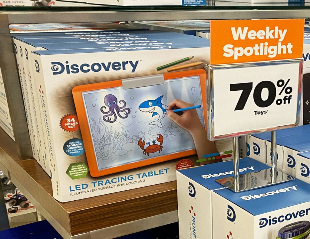 discovery kids drawing tablet on display table with 70% off sign