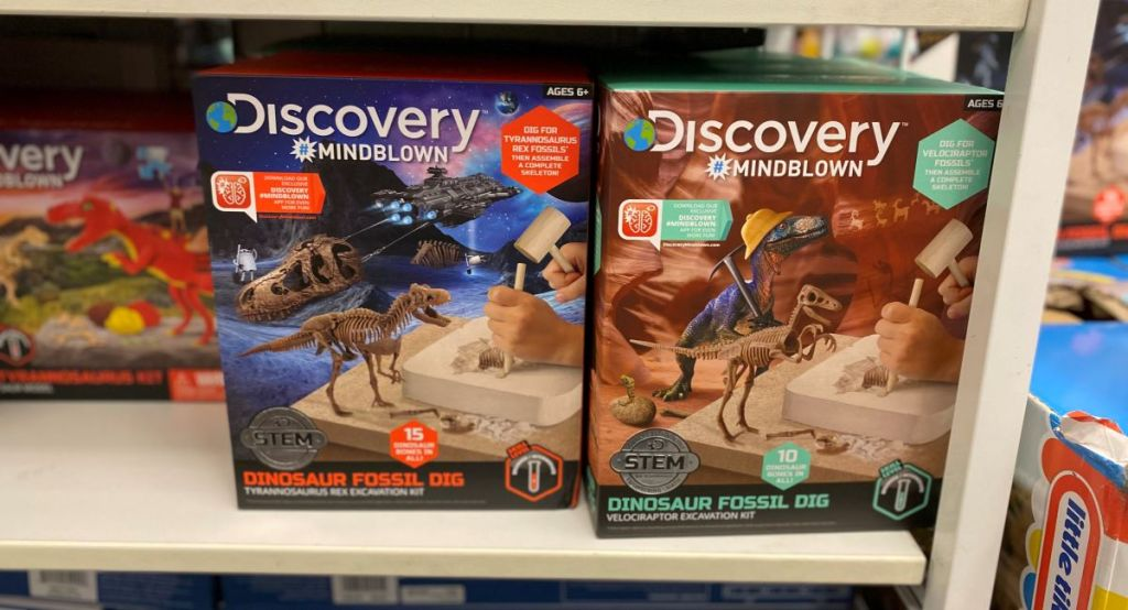 two fossil dig set boxes on a shelf