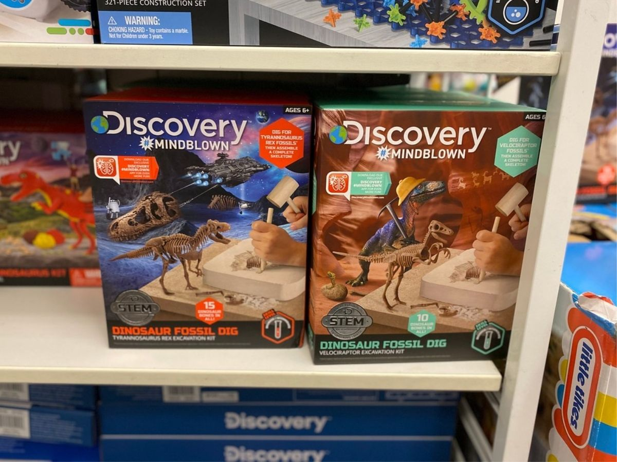 Discovery Mindblown fossil dig sets on store shelf