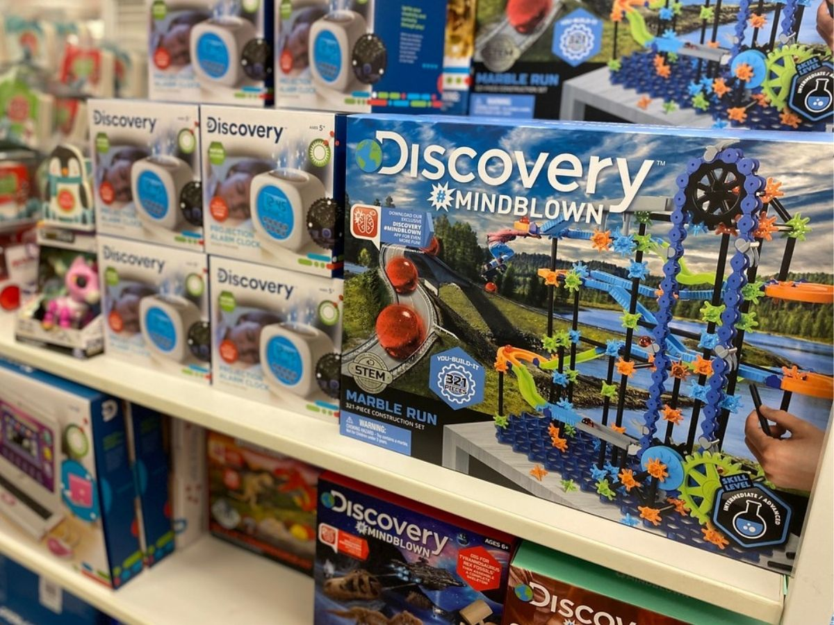 Discovery Mindblown marble run set on store shelf