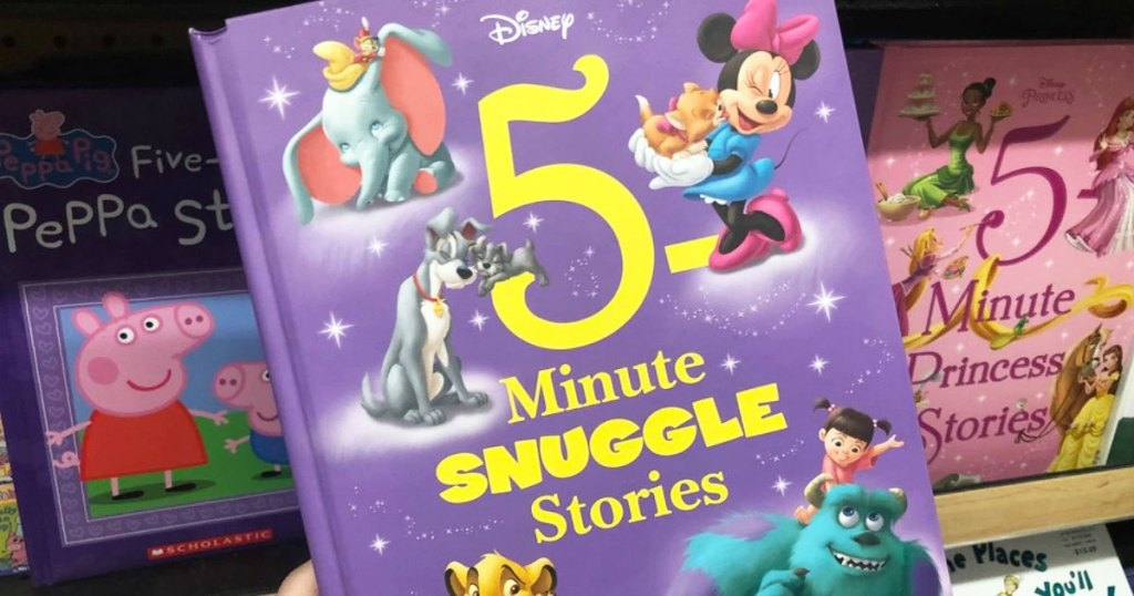 person holding up a purple hardcover copy of Disney 5-minute snuggle stories