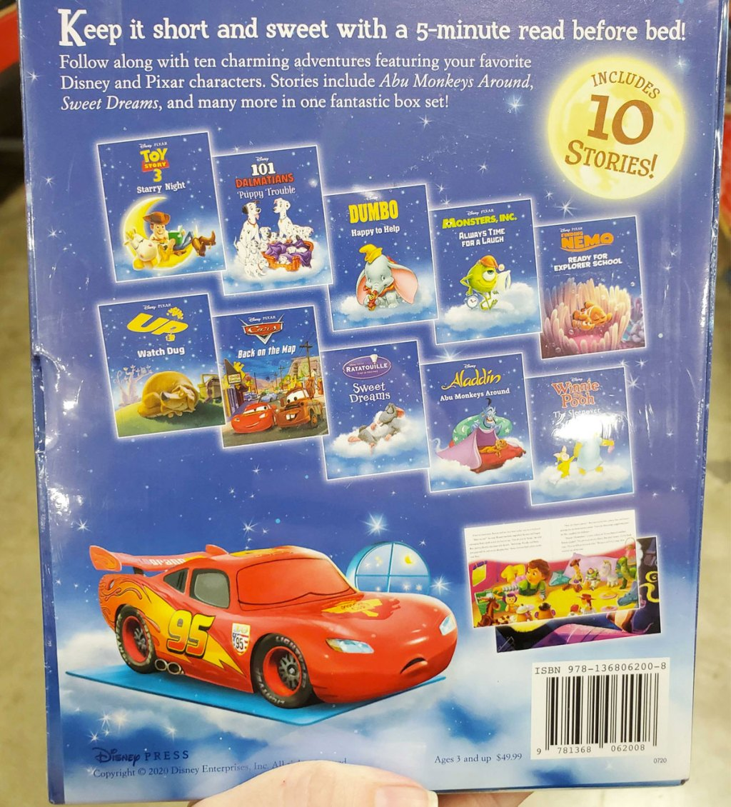 back cover of disney bedtime collection book set showing all 10 books included in set
