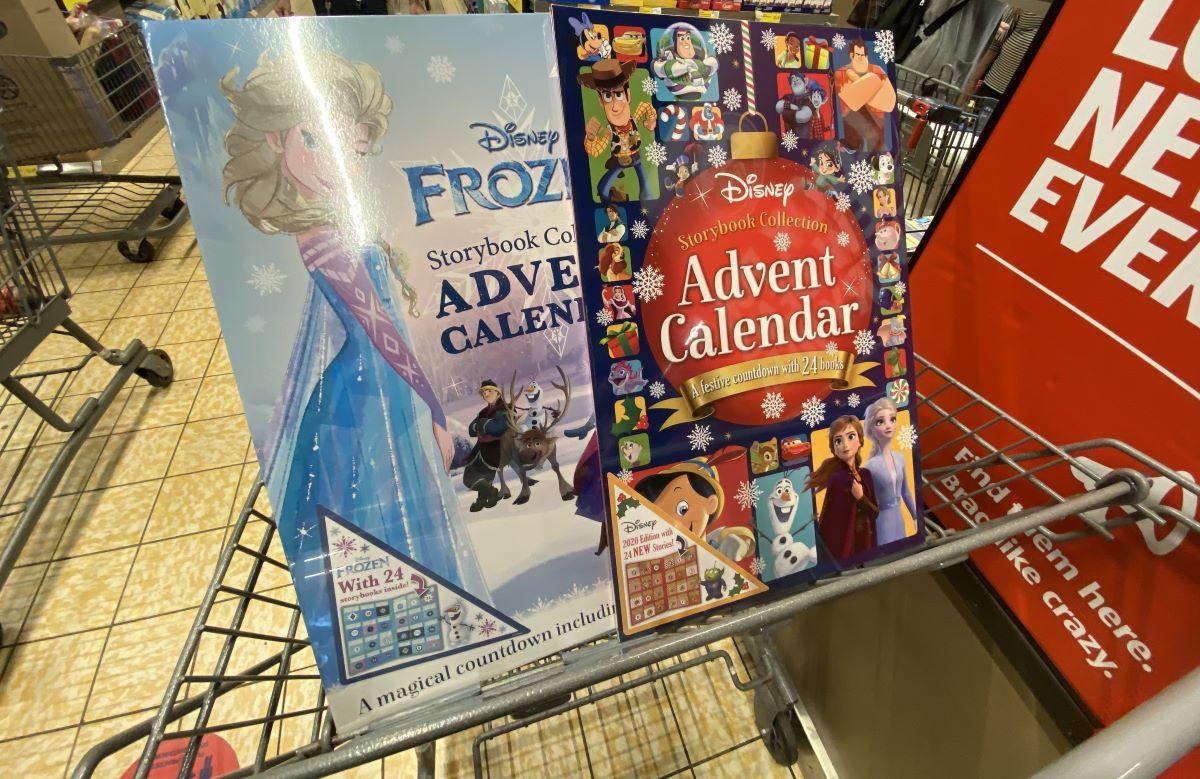two Disney Advent calendars in an cart