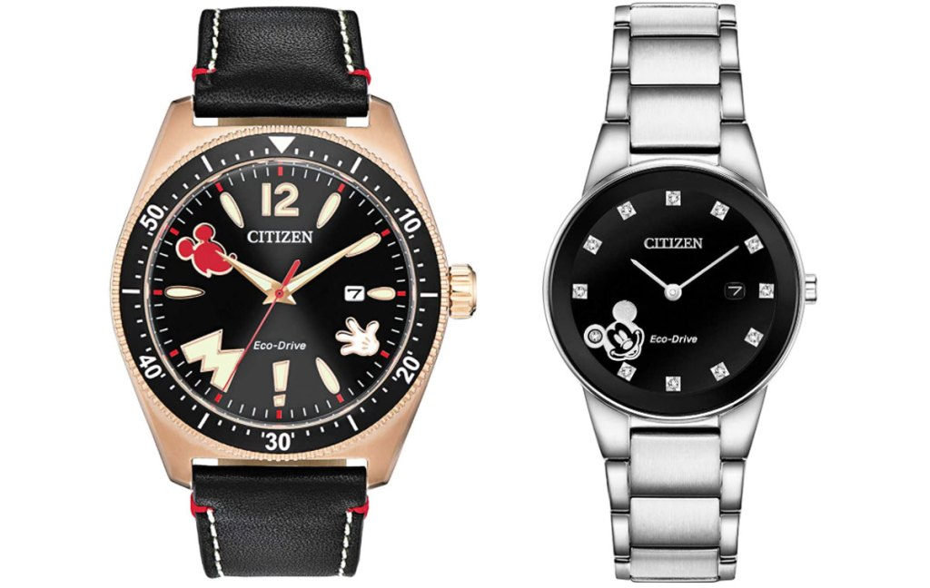 gold disney watch with black leather strap and stainless steel watch with black watch face