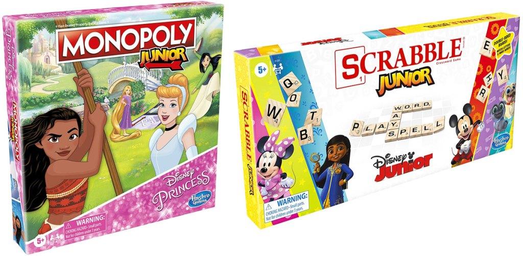 disney princess monopoly and disney junior scrabble board games