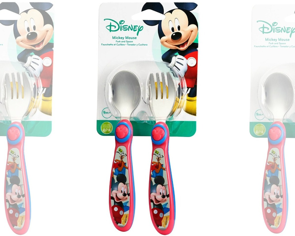 Mickey Mouse themed fork and spoon set