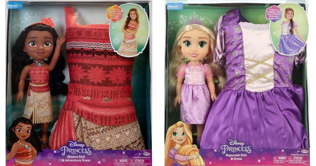 Disney Moana and Rapunzel Doll and Dress Sets