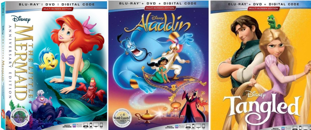 Disney Movies The Little Mermaid, Aladding, and Tangled