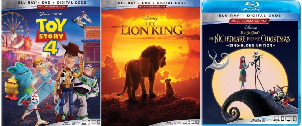 Disney Movies Toy Story 4, The Lion King 2019, The Nightmare Before Christmas