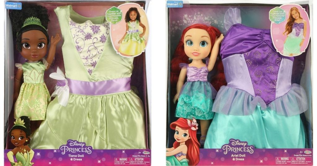 Disney Tiana and Ariel Doll and Dress Sets