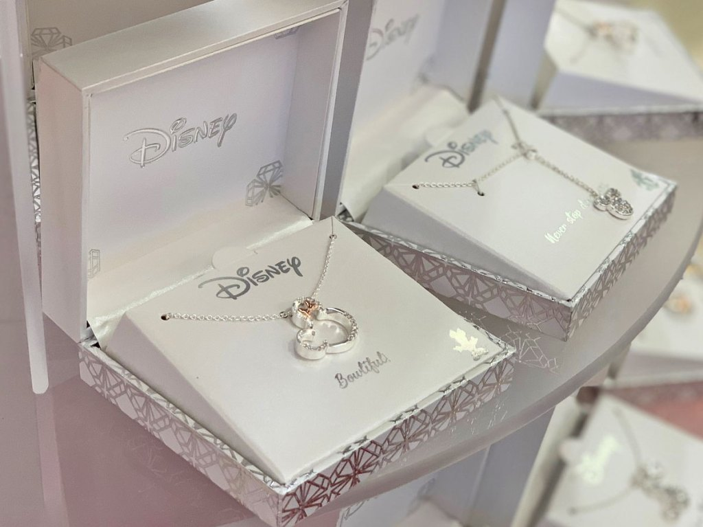 silver disney minnie mouse necklace on display in silver box