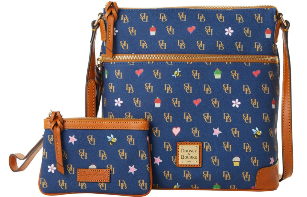 matching blue printed crossbody and wristlet