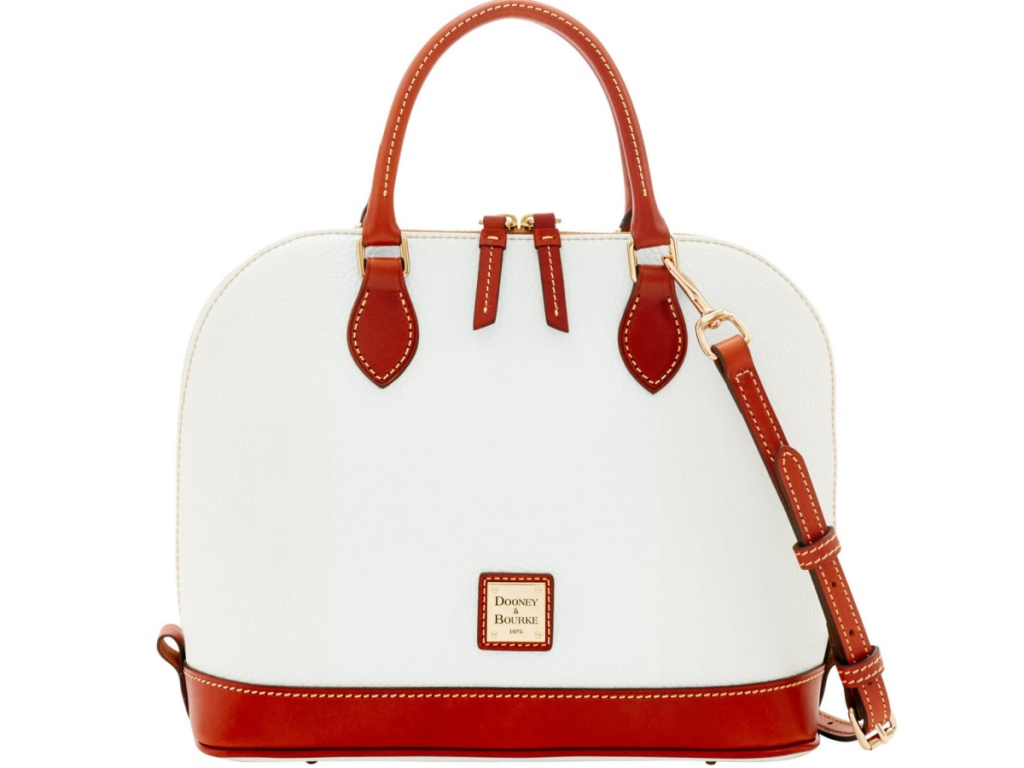 white and brown satchel bag