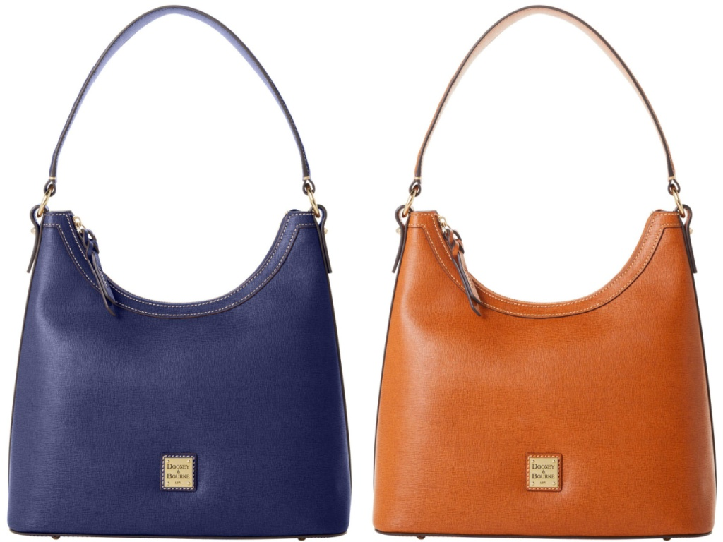 blue hobo bag and light brown hobo bag