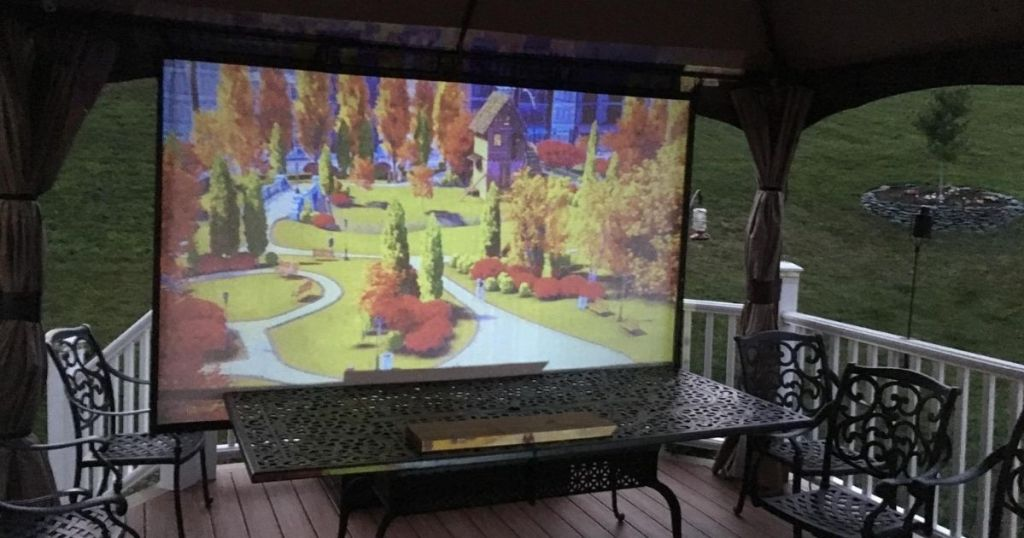 projection screen on a porch