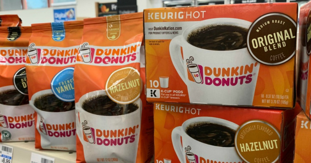 Dunkin Donuts coffee on shelf