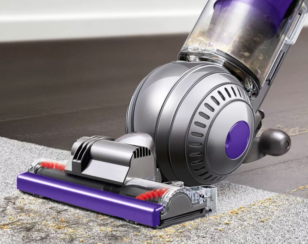 grey and purple dyson ball vacuum cleaning up dirt on area rug