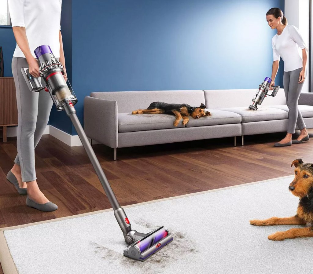 woman using a dyson cordless vacuum to clean up pet hair on floor and on couch in background
