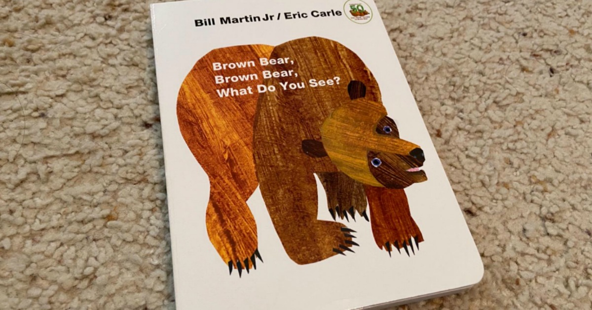 Eric Carle brown bear book on carpeted surface