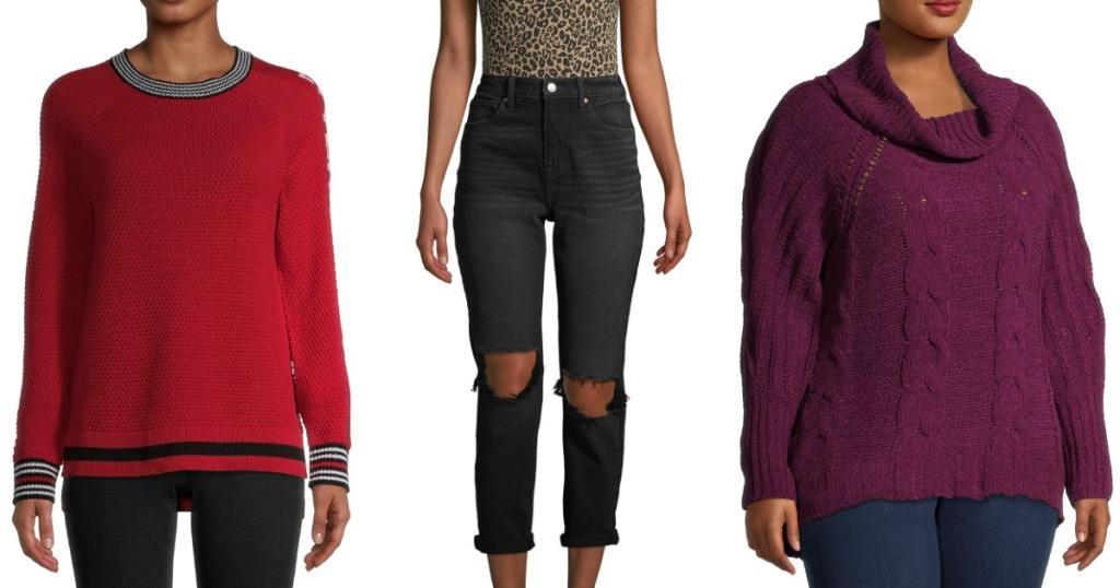 stok gambar wanita yang mengenakan sweater dan jeans