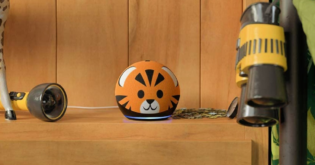 Echo Dot 4th Generation Kids Edition tiger on table