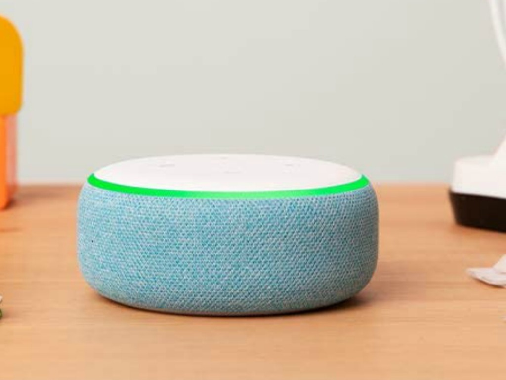 Echo Dot Kids Edition in blue on counter top