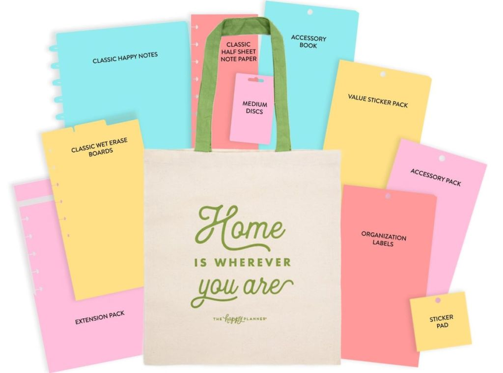 Happy Planner mystery bag with items around it
