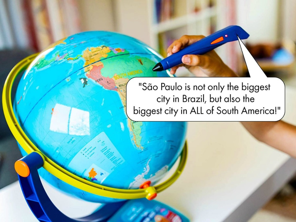 kids playing with educational insights globe