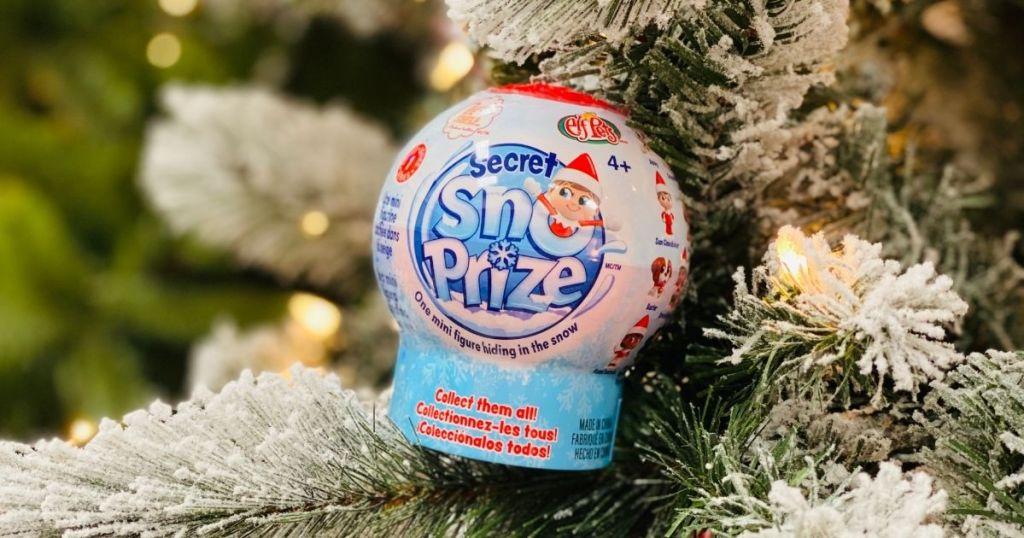 Elf on the Shelf Secret SnoPrize in a tree