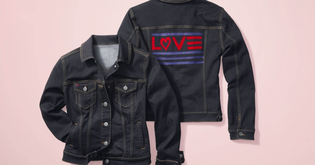 two dark wash denim jackets with LOVE logo on back and pink background