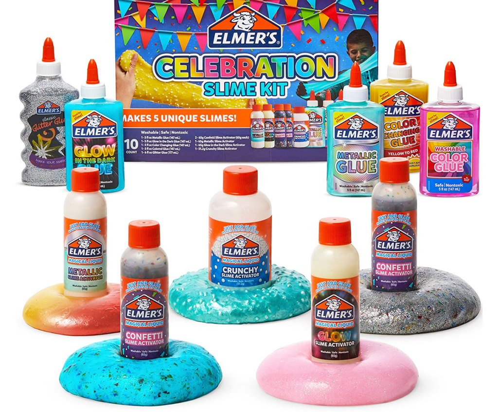 elmer's slime celebration kit with bottles of glue and slime activators sitting in piles of the slime they create