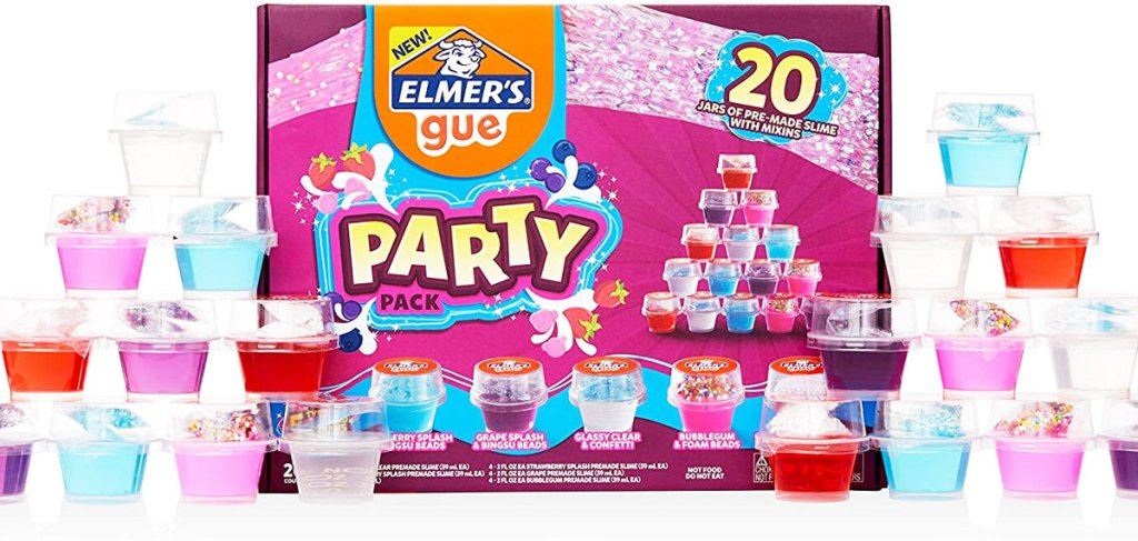 elmer's pre-made slime party pack with small cups of slime stacked on either side of the box