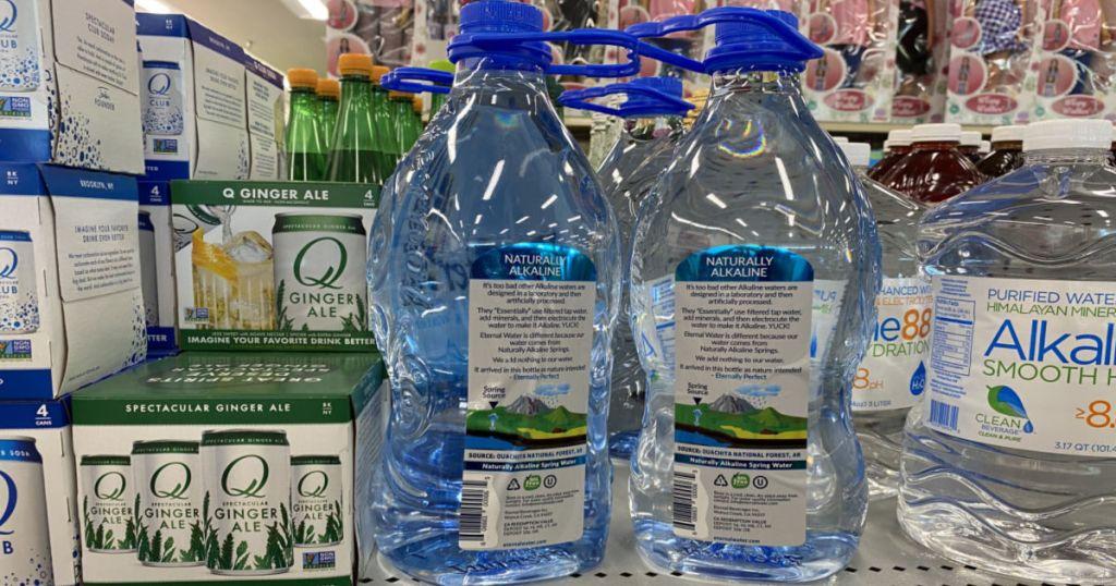 2 water bottles on shelf