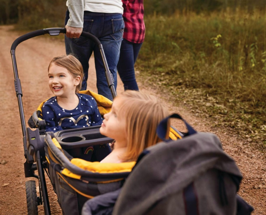 kids in a stroller wagon
