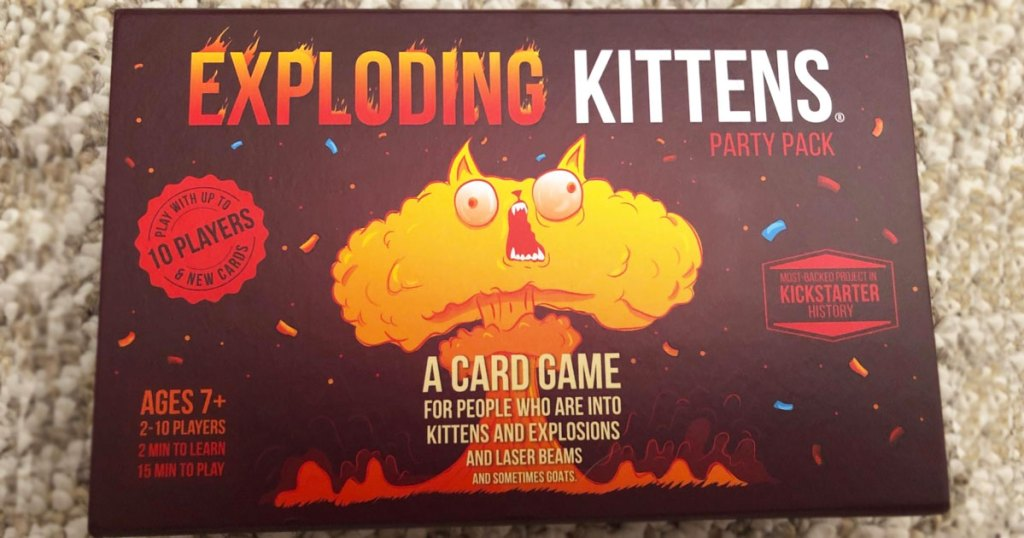 Exploding Kittens Party Pack box on carpet