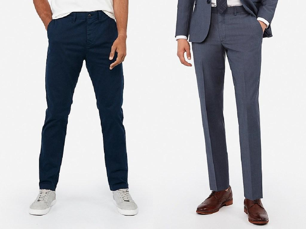 pria dengan celana biru tua dan pria dengan celana panjang abu-abu