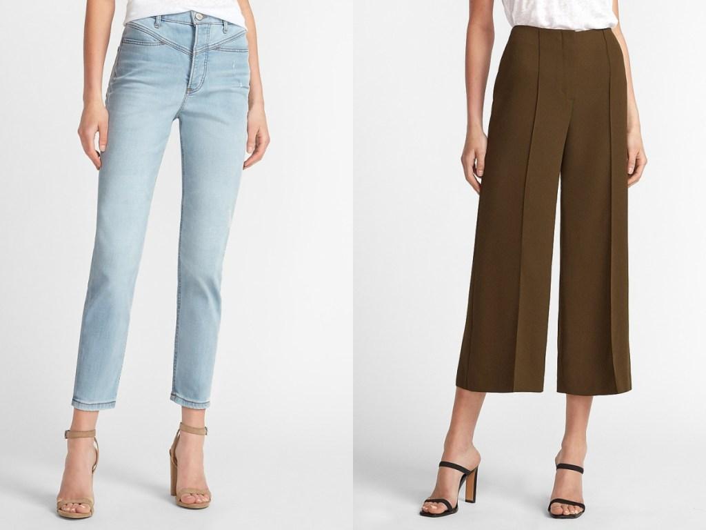 wanita dengan jeans dan wanita dengan celana coklat lebar kaki